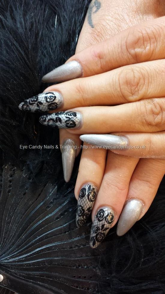 crystal nails gel with lace freehand nail art