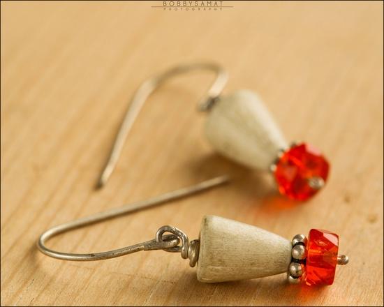 Sterling Silver Orange Crystal & Bone Bead Earrings - Jewelry by Jason Stroud.