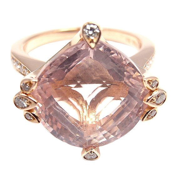 CARTIER Diamond & Pink Quartz Rose Gold Ring