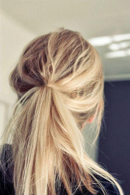 messy ponytail.