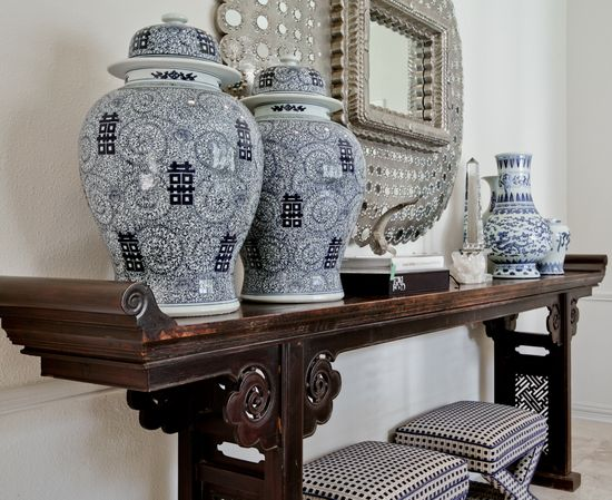 Chinese altar table got a whole new look in the Dining Room with a collection of blue & white porcelains.