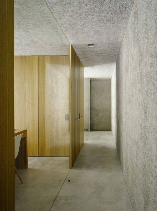 Grey plaster and wood. New House in Ranzo by Wespi de Meuron.