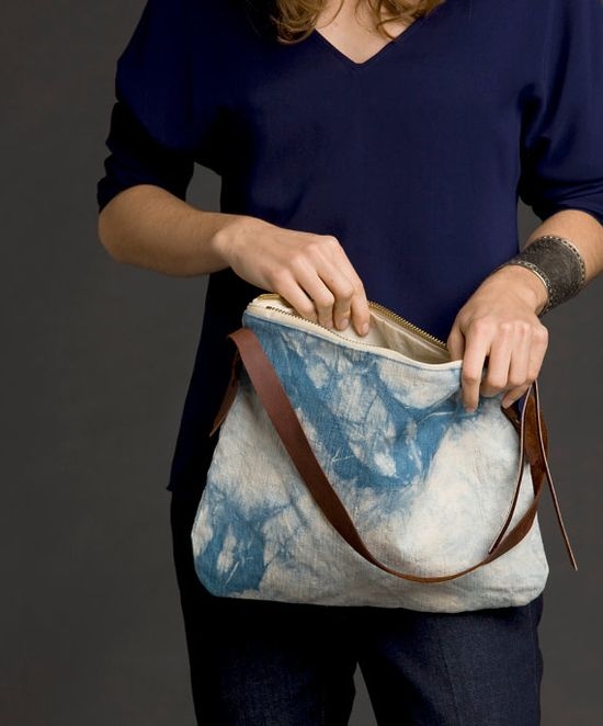 Linen Canvas & Leather Naturally Dyed Bag, $69