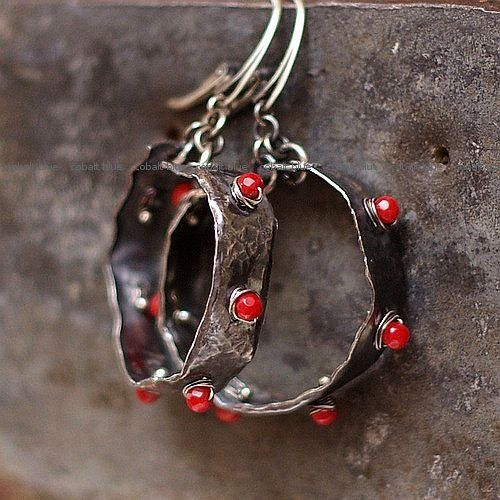 Red II  earrings sterling silver