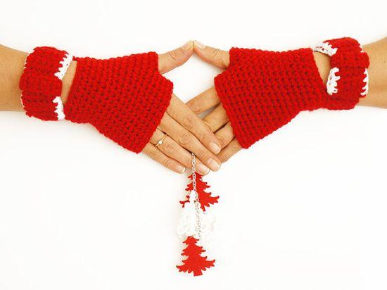 red fingerless gloves mittens  handmade bow by Sudrishta on Etsy, $38.00
