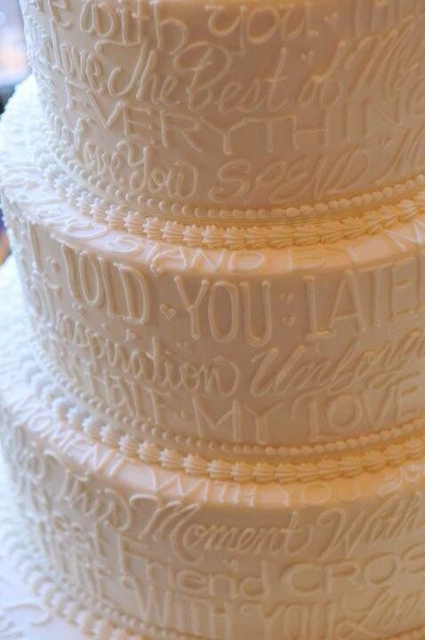 wedding cake design. so cute! has the lyrics to your first dance song in it ?