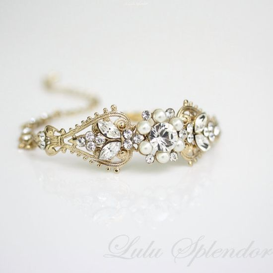 Gold Cuff bracelet, Ivory Pearl Rhinestone Bridal Cuff Bracelet Swarovski Crystal Cuff Vintage Wedding Jewelry, PARIS BRACELET.