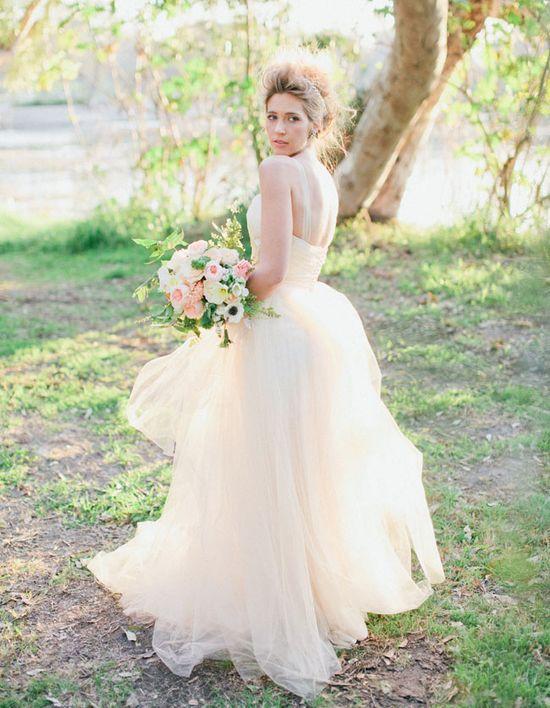 palest pink wedding dress
