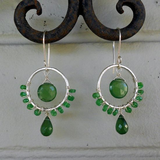 Serpentine, Emerald and Sterling Silver handmade earrings from Rose West.
