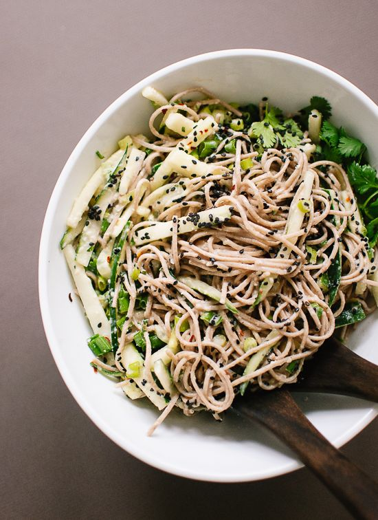 sesame-ginger and cucumber soba noodles