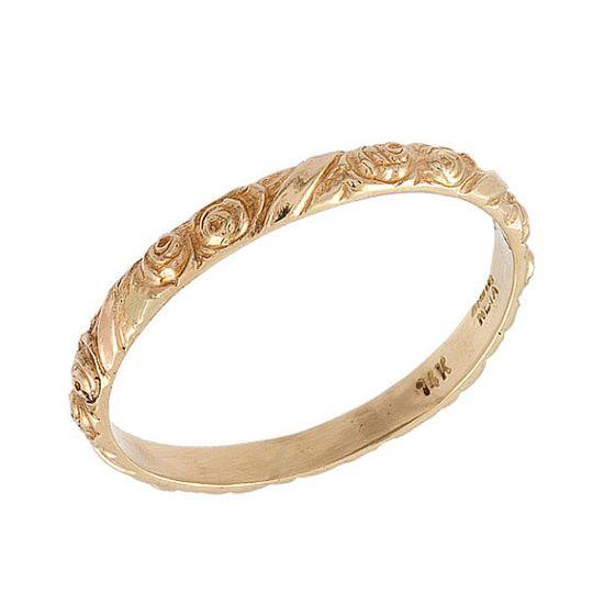 Vintage Floral Engraved Wedding Band Ring 14k Rose Gold