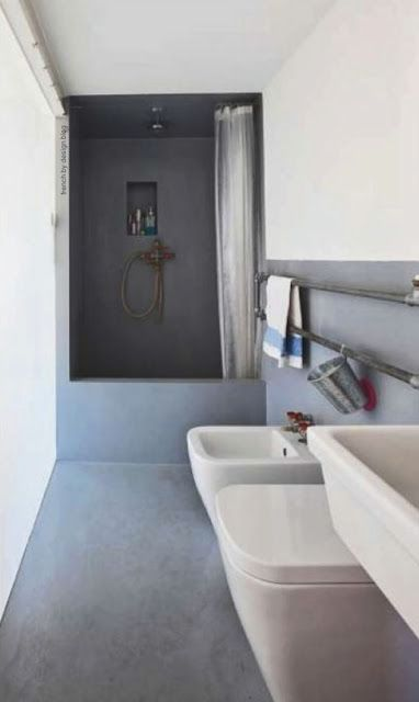 "clean lines and shower ""nook"""
