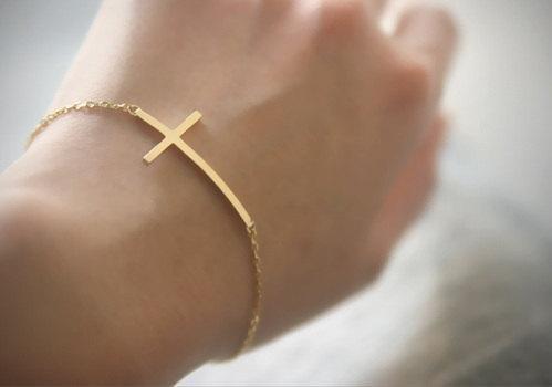 Sideways Cross Bracelet - Gold Plated. $8.00, via Etsy.