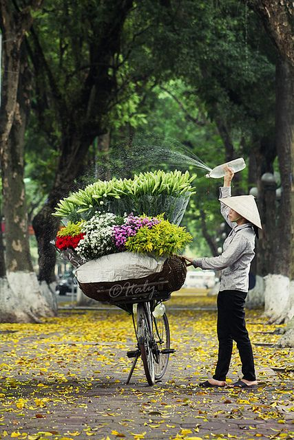 To market on bicycle with flowers.