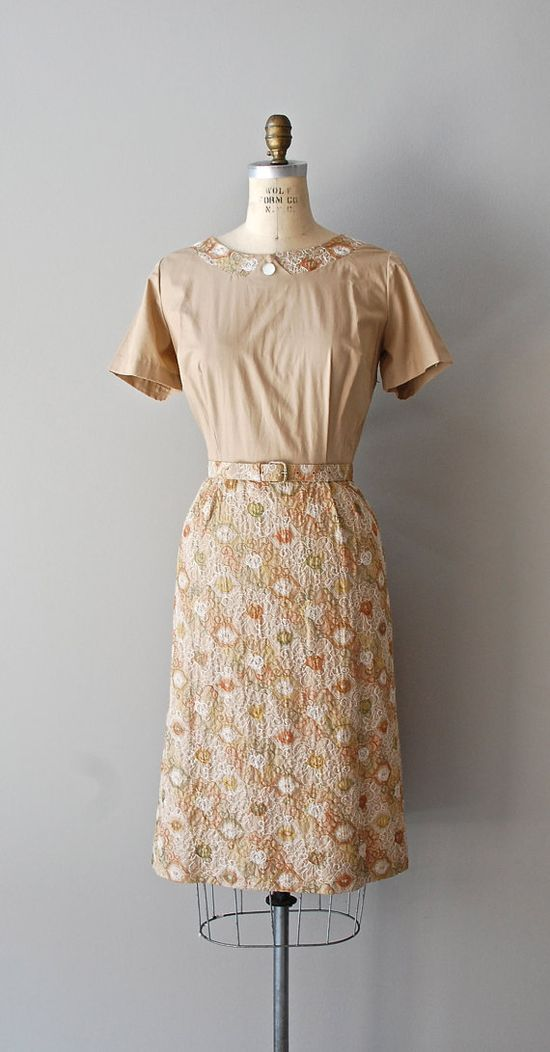 1950s dress / vintage 50s dress / Curry a Favor by DearGolden, $78.00
