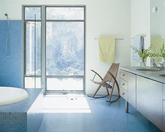 #Modern #bathroom #design with rocking #chair and #blue #tile