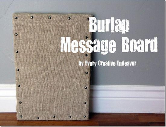 Burlap message board