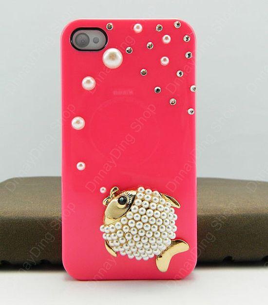 iphone 4 case fish   pearls iphone case iPhone cover  iphone 5 case iphone 3 case 14 color choices
