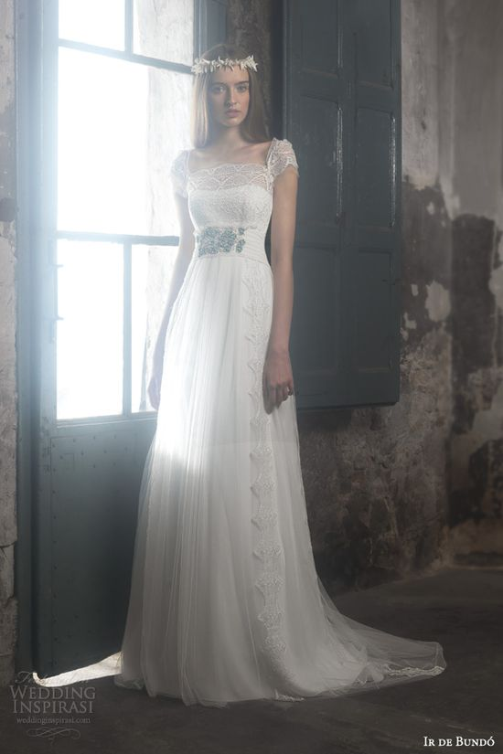 ir de bundo bridal 2014 martina cap sleeve lace bodice wedding dress