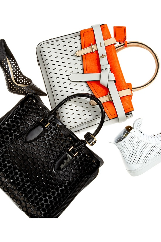 Perforated perfection #fashion #saks #accessories #handbags #shoes