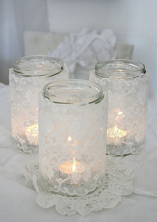 Wedding Lace Covered Jars #White #Wedding ideas for #Same #Sex #Wedding… Wedding ideas for brides, grooms, parents & planners itunes.apple.com/... … plus how to organise an entire wedding, within ANY budget ? The Gold Wedding Planner iPhone #App ? For more pinterest.com/...