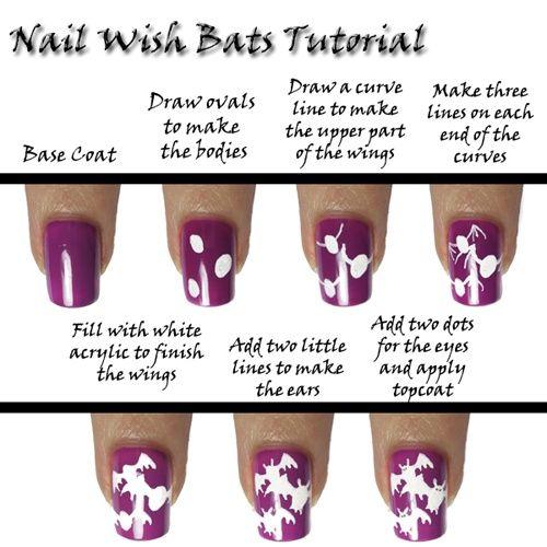 16 Amazing And Useful Nails Tutorials, DIY Bats Nail Design