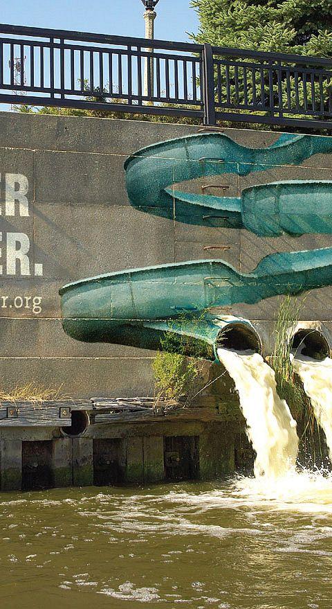 Water slide street art