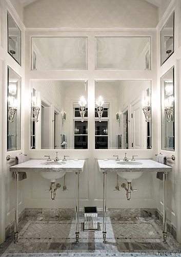 Glamorous Bathroom with Paneled, Mirrored Walls