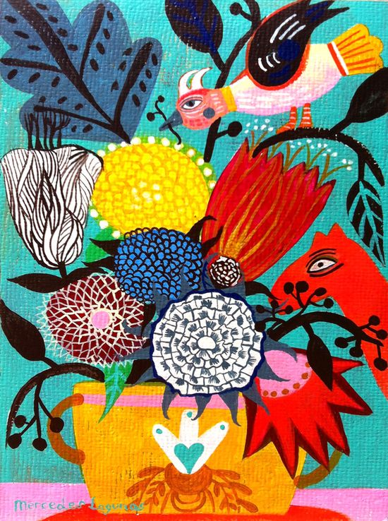 8,2 x 11,8 inches Original Art painting flowers. Birds art, butterfly art, bohemian art, folk art, naive art. Primitive art.. $69.00, via Etsy.