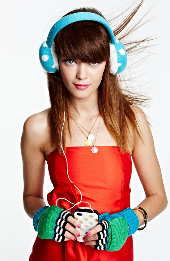 Tech Obsessed: kate spade new york silk dress, tech earmuffs, necklace & mittens #Nordstrom #Holiday