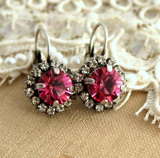 Pink silver crystal rhinestone hook earrings  silver by iloniti, $36.00