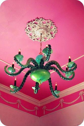 Green Octopus Chandelier in Pink Room. Love it!