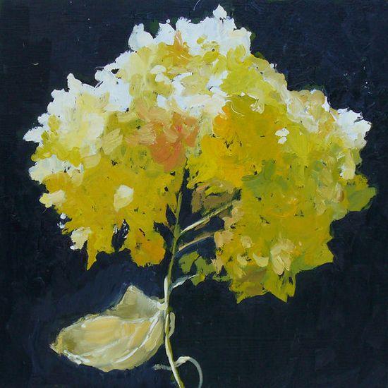 Hydrangea Flower Still Life Painting Original Oil on Wood Panel 16x16 Inch wall decor. $350,00, via Etsy.