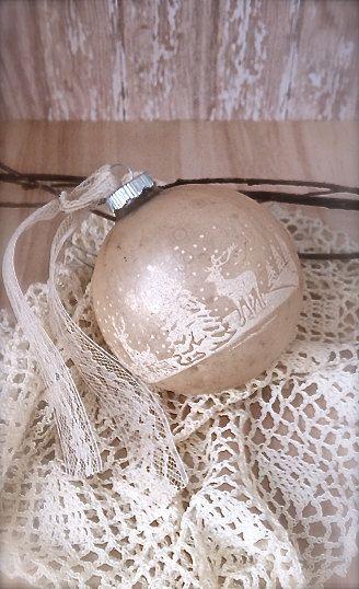 Vintage Christmas Ornament - Mercury Glass Ornament - Shabby Chic Winter Scene Ornament. 6.00, via Etsy.