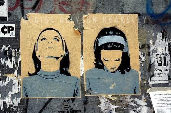 Stencil Graffiti Blue Girl Photograph 8 x 10 11 x by thisisblaise