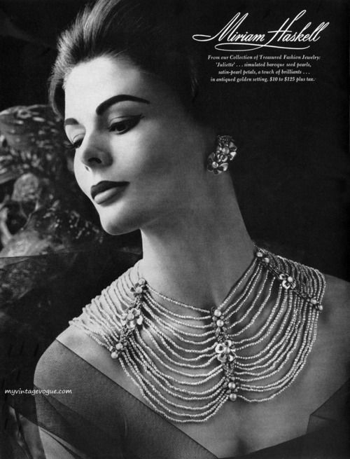 An elegant Miriam Haskell jewelry ad, 1960. #vintage #1960s #necklaces #accessories #ads.Vintage jewelry ad. inspiration brought to you by www.aussiebeader.com