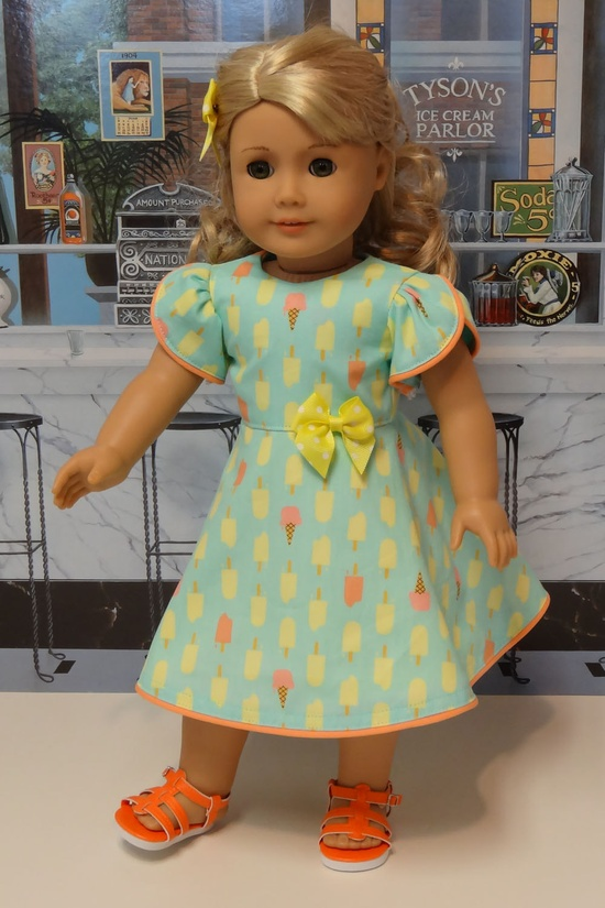 Creamsicle - dress for American Girl doll.