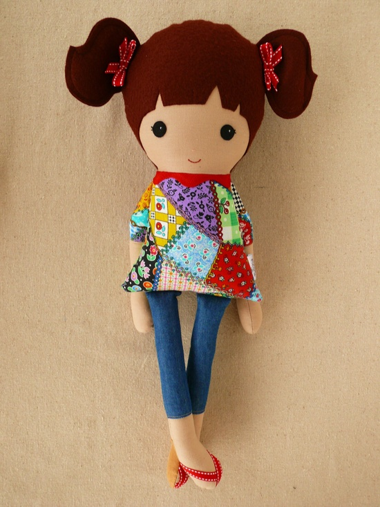 Fabric Doll Rag Doll Girl in Patchwork Dress and Ponytails