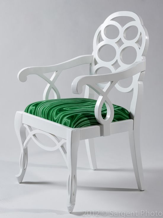 Whoah. So this is what my malachite bar & new loop chairs would look like if they had a baby. I'm thinking i need to keep them Separated.   -LOOP ARM CHAIR - white lacquer with green malachite fabric : Malakos in Malachite