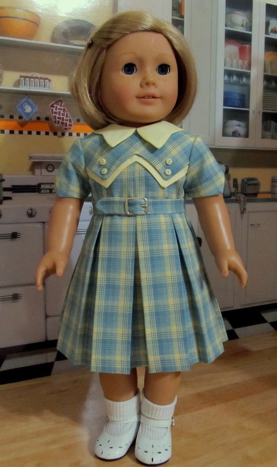 "1930's Pleated Spring Frock - Made to Fit 18"" American Girl Doll Kit or Ruthie, By KeeperDollyDuds"