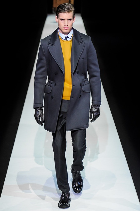 Gold sweater with navy suit is very sophisticated // Emporio Armani fall 2013 mens fashion #emporioarmani #milanfashionweek