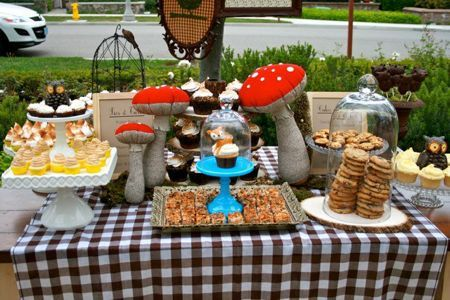 woodland party tablescape