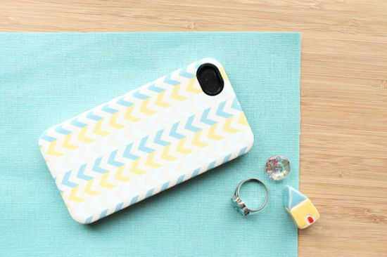 Chevron iPhone Case, Aqua Blue & Chartruese
