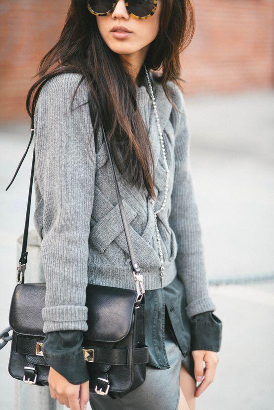 gray tones- love the sweater