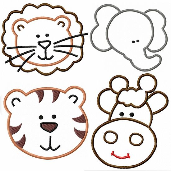 Safari Animal Faces Machine Embroidery Applique Pattern - 4 patterns - 4x4 hoop. $7.00, via Etsy.