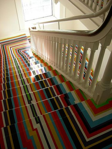 colorful stripped stair runner flooring