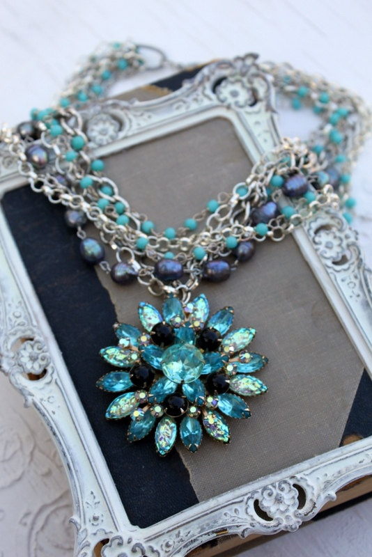Vintage Blue Rhinestone And Pearl Layered Assemblage Necklace