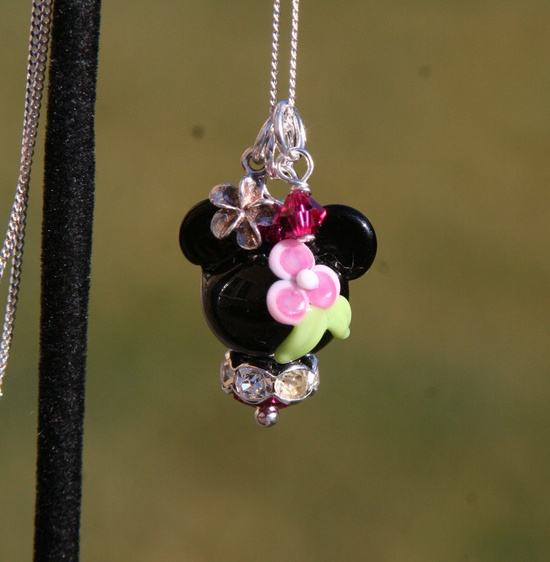 Tropical Pink Minnie Mouse Style Disney Inspired Lampwork Bead DeSIGNeR Necklace Hawaii Lei Sterling. $40.00, via Etsy.