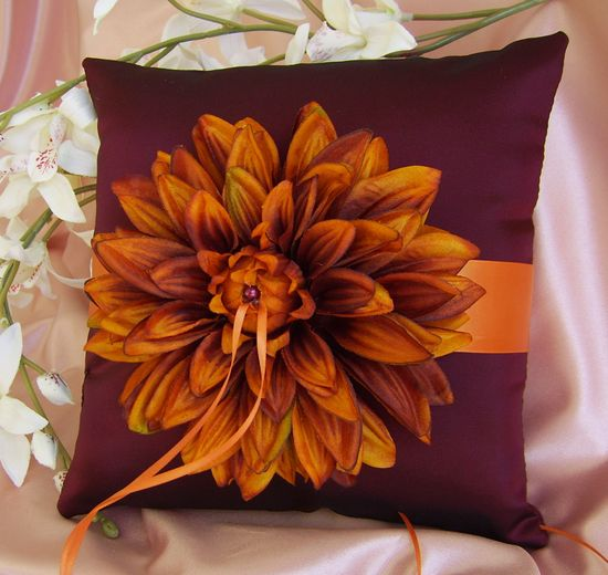 Burgundy and Burnt Orange Wedding Colors Ring Bearer. $40.00, via Etsy.