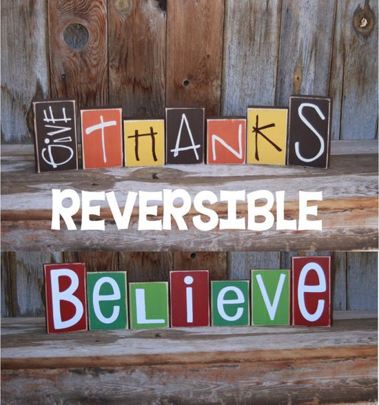 Reversible GIVE THANKS and BELIEVE Christmas Thanksgiving Harvest Wood Blocks home decor holiday vinyl lettering on Etsy, $30.00